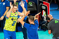 Pajenk Alen #2 (SLO) with Giuliani Alberto head coach of Slovenia during volleyball match between National teams of Slovenia and Finland in 2nd Round in Group C of 2019 CEV Volleyball Men's European Championship in Ljubljana, on September 14, 2019 in Arena Stozice. Ljubljana, Slovenia. Photo by Grega Valancic / Sportida