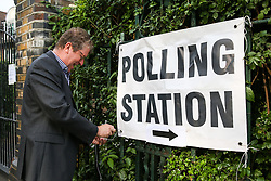 © Licensed to London News Pictures. 23/05/2019. London, UK. A poll clerk puts up a sign at the polling station in Haringey, north London for the European Parliament elections. Photo credit: Dinendra Haria/LNP