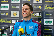 Christophe Berra (#6) of Heart of Midlothian FC speaks to the media during the Heart of Midlothian press conference, media and training session, ahead of the William Hill Scottish Cup Final, at the Oriam Sports Performance Centre, Edinburgh, Scotland on 15 December 2020.<br /> <br /> *** EMBARGOED UNTIL 16/12/2020 ***