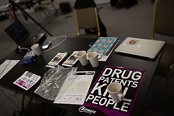 © Licensed to London News Pictures . 12/10/2013 . Manchester , UK . Drug Patents Kill People flyer at The Pirate Party UK Conference at the Museum of Science and Industry , Manchester . The Pirate Party campaigns on Digital Rights , freedom of information , civil rights , copyright law , censorship and Internet Piracy . Photo credit : Joel Goodman/LNP
