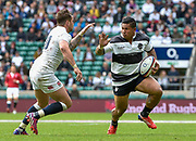 Barbarians wing David Smith (Toulon) looks to hand-off England fly-half Danny Cipriani (Sale Sharks) during the International Rugby Union match England XV -V- Barbarians at Twickenham Stadium, London, Greater London, England on May  31  2015. (Steve Flynn/Image of Sport)