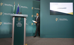 Taoiseach Leo Varadkar arriving to speak in Government Buildings, Dublin, as he briefs the media on the latest measures Government Departments have introduced in response to Covid-19.