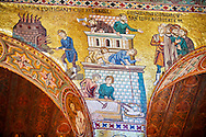 Byzantine mosaics at the Palatine Chapel ( Capella Palatina ) Norman Palace Palermo, Sicily, Ittaly. Building the tower of Babel. .<br /> <br /> If you prefer you can also buy from our ALAMY PHOTO LIBRARY  Collection visit : https://www.alamy.com/portfolio/paul-williams-funkystock/byzantine-art-antiquities.html . Type -    Palatine     - into the LOWER SEARCH WITHIN GALLERY box. Refine search by adding background colour, place, museum etc<br /> <br /> Visit our BYZANTINE MOSAIC PHOTO COLLECTION for more   photos  to download or buy as prints https://funkystock.photoshelter.com/gallery-collection/Roman-Byzantine-Art-Artefacts-Antiquities-Historic-Sites-Pictures-Images-of/C0000lW_87AclrOk