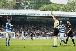 (L-R) Lars Nieuwpoort of De Graafschap, referee Pol van Boekel during the Dutch Jupiler League play-offs match between De Graafschap and sc Telstar at the Vijverberg on May 13, 2018 in Doetinchem, The Netherlands