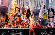 LONDON, ENGLAND - NOVEMBER 26: Son of Vivienne Westwood and Sex Pistols creator Malcolm McLaren, Joe Corre burns his entire £5 million punk collection on a boat stationed on the river Thames overlooking Chelsea Embankment on November 26, 2016 in London, England<br /> <br /> Photo By Ki Price/ Emulsion London Limited