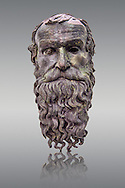 The Riace bronze Greek statue head cast about 460 BC. Museo Nazionale della Magna Grecia,  Reggio Calabria, Italy. .<br /> <br /> If you prefer to buy from our ALAMY STOCK LIBRARY page at https://www.alamy.com/portfolio/paul-williams-funkystock/greco-roman-sculptures.html . Type -    Riace     - into LOWER SEARCH WITHIN GALLERY box - Refine search by adding a background colour,  etc.<br /> <br /> Visit our ROMAN WORLD PHOTO COLLECTIONS for more photos to download or buy as wall art prints https://funkystock.photoshelter.com/gallery-collection/The-Romans-Art-Artefacts-Antiquities-Historic-Sites-Pictures-Images/C0000r2uLJJo9_s0