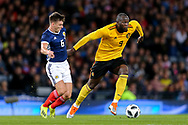 Romelu Lukaku (#9) of Belgium takes on Kevin McDonald (#8) of Scotland during the International Friendly match between Scotland and Belgium at Hampden Park, Glasgow, United Kingdom on 7 September 2018.