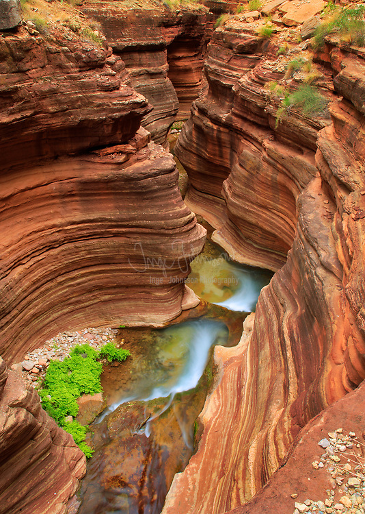 Slot canyon in Deer Creek patio.  Deer Creek is a side stream to the Colorado River in the interior of the Grand Canyon.