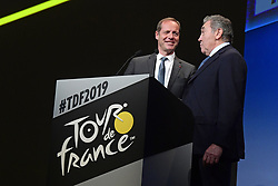 October 25, 2018 - Paris, France - MERCKX Eddy and PRUDHOMME Christian (FRA) Director of ASO pictured during the presentation of the 2019 Tour de France at the Palais des Congres (Credit Image: © Panoramic via ZUMA Press)