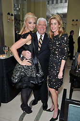 Left to right, TAMARA BECKWITH, DENNIS BASSO and SERENA BOARDMAN at a dinner in honour of Dennis Basso in celebration of his new boutique in Harrods held at Claridge's, Brook Street, London on 15th October 2009.