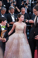 Actor Riley Osborne, actress Mackenzie Foy, Director Mark Osborne at the gala screening for the film The Little Prince – Le Petit Prince at the 68th Cannes Film Festival, Friday 22nd May 2015, Cannes, France.
