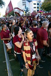 Oct 21, 2019; Sacramento, CA, USA; Sacramento Republic FC fans line up for a celebration event for the new Sacramento Republic FC MLS soccer team at Capital Mall. Mandatory Credit: D. Ross Cameron-USA TODAY Sports