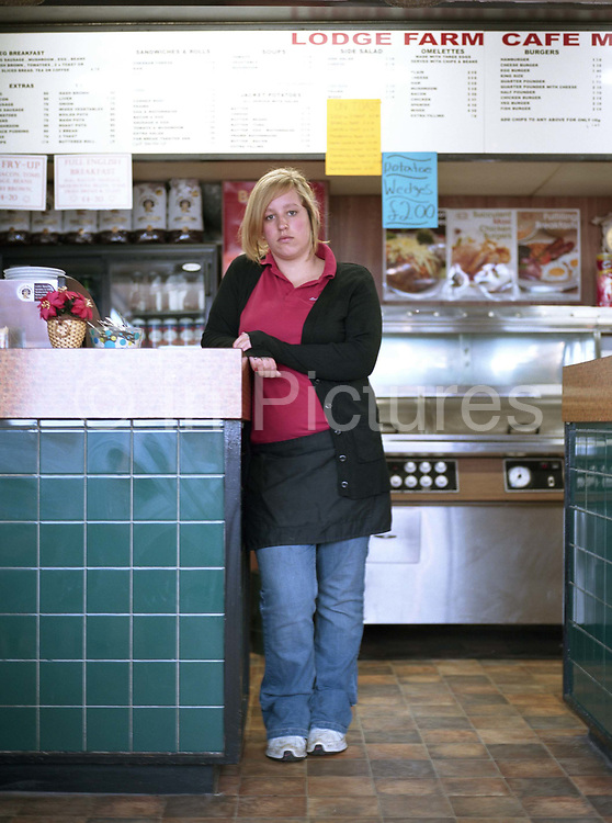 A waitress at the Farm Cafe Lodge on the 20th May 2010 in Holbeach in the United Kingdom.
