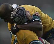 Twickenham, England, Autumn International. RFU Twickenham Stadium<br /> 16/11/2002<br /> International Rugby - England vs Australia.<br /> Elton Flatery (scoring try) and Wendell Sailor         [Mandatory Credit:Peter SPURRIER/Intersport Images]