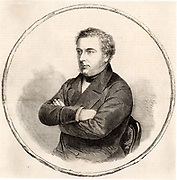 Robert Stephenson (1803-1859) English civil engineer and son of the railway engineer George Stephenson whom he assisted in a number of projects.  In 1833 he was appointed chief engineer of the London and Birmingham Railway.  Among his famous bridges are the High Level Bridge at Newcastle and the Conway (Conwy) and Britannia innovative box girder bridges. Engraving from 'The Illustrated London News' (London, 22 October 1859).