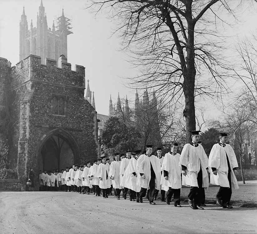 Line of students in cap and gown, King's School, Canterbury, England, c.1945