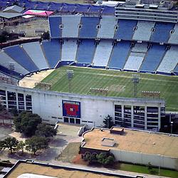 Aerial view of Cotton Bowl Stadium, historic Football stadium in Fair Park, outside Dallas Texas