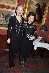 Left to right, JUSTINE PICARDIE and LULU GUINNESS at a party hosted by Justine Picardie, Editor-in-Chief of Harper's Bazaar UK and Glenda Bailey, Editor-in-Chief of Harper's Bazaar US to celebrate the end of London Fashion Week and the biggest-ever March issues of Harper's Bazaar, held at Mark's Club, Charles Street, London on 19th February 2013.