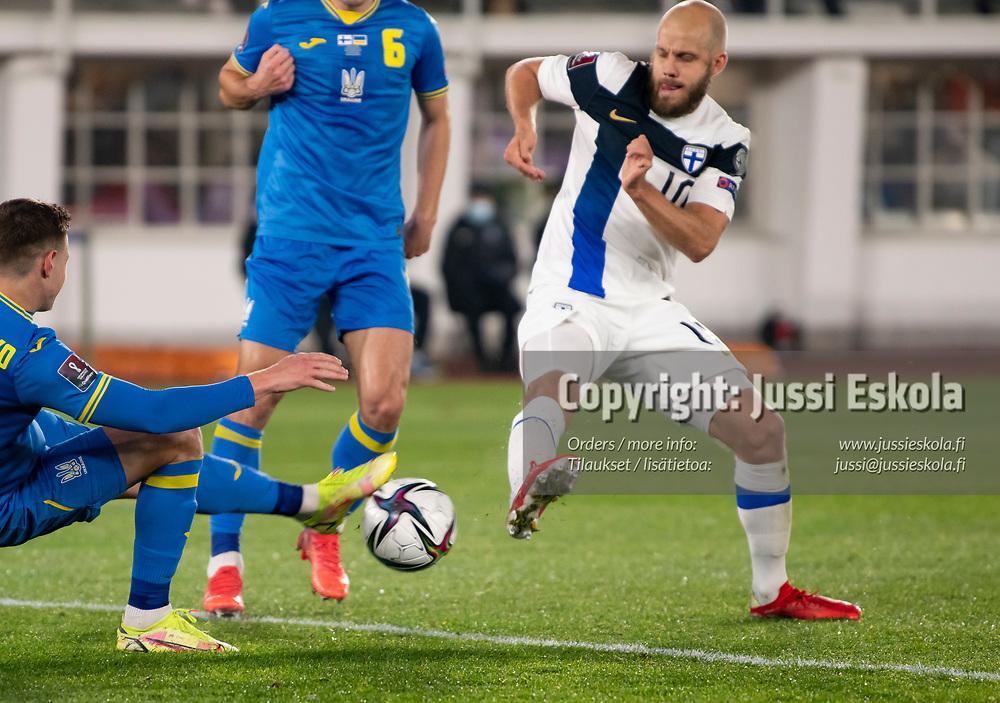 Teemu Pukki 1-1. Suomi - Ukraina. MM-karsinta. Helsinki 9.10.2021. Photo: Jussi Eskola
