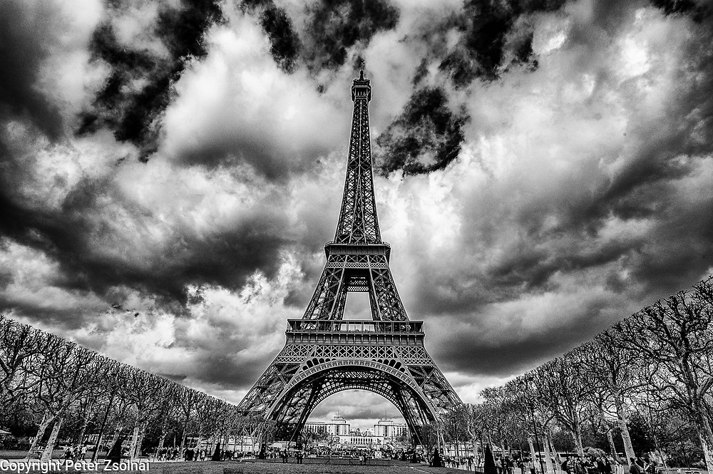 The Eiffel Tower amongst clouds