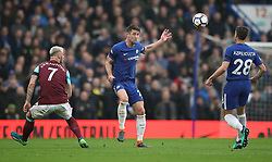 Chelsea's Gary Cahill (centre), Cesar Azpilicueta (right) and West Ham United's Marko Arnautovic during the Premier League match at Stamford Bridge, London.