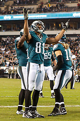 Philadelphia Eagles wide receiver Jordan Matthews #81 reacts after scoring a touchdown during the NFL game between the Carolina Panthers and the Philadelphia Eagles at Lincoln Financial Field in Philadelphia, Pennsylvania on Monday November 10th 2014. The Eagles won 45-21. (Brian Garfinkel/Philadelphia Eagles)