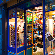 Windows of vintage toy shop La Varpa In Girona, Spain