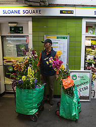 © London News Pictures. 23/05/2015. London, UK. A man waiting at Sloan Square tube station with his flower purchases. Members of the public carry exhibitors' plants from the 2015 Chelsea Flower show, which ends today (Sat). The Royal Horticultural Society flagship flower show has been held at the Royal Hospital in Chelsea since 1913. Photo credit: Ben Cawthra/LNP