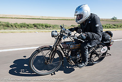 Norm Nelson riding his 1911 single-cylinder, single-speed, belt drive Class-1 Reading Standard motorcycle through the Kansas countryside during the Motorcycle Cannonball Race of the Century. Stage-9 Dodge City, KS to Pueblo, CO. USA. Monday September 19, 2016. Photography ©2016 Michael Lichter.