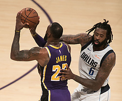 October 31, 2018 - Los Angeles, California, U.S - LeBron James #23 of the Los Angeles Lakers tries to get past DeAndre Jordan #6 of the Dallas Mavericks prior to their NBA game on Wednesday October 31, 2018 at the Staples Center in Los Angeles, California. (Credit Image: © Prensa Internacional via ZUMA Wire)