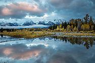 Autumn reflection, Shwabacker Landing, Grand Tetons, Grand Teton National Park