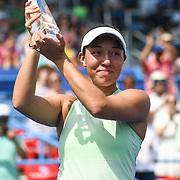 JESSICA PEGULA celebrates winning the 2019 Citi Open at the Rock Creek Tennis Center.