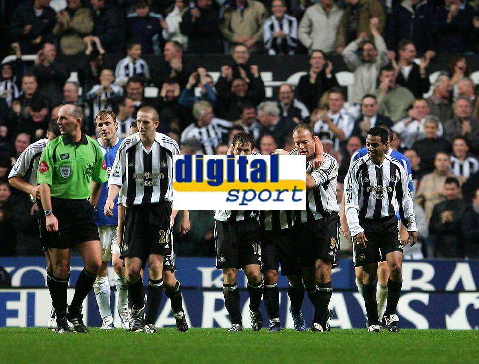 Photo: Andrew Unwin.<br />Newcastle Utd v Birmingham City. The Barclays Premiership. 05/11/2005.<br />Newcastle's Alan Shearer (R) and Michael Owen (L) celebrate Emre's (C) goal.