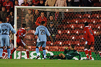 Photo: Back Page Images. 27/10/2004.<br /> Carling Cup. Middlesbrough v Coventry City. The Riverside Stadium.<br /> Szilard Nemeth (Left in Red) gets Boro's defence of the Carling Cup off to the perfect start by scoring in the opening few minutes past Luke Steele