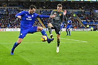 Football - 2018 / 2019 Premier League - Cardiff City vs. Leicester City<br /> <br /> Sean Morrison Cardiff City Jamie Vardy of Leicester City in Leicster's 1st match since the death of Vichai Srivaddhanaprabha, at Cardiff City Stadium.<br /> <br /> COLORSPORT/WINSTON BYNORTH