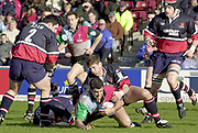Twickenham. Surrey, UK., 23 February 2002, Zurich Premiership Rugby,  The Stoop Memorial Ground, Gloucester's Rob Fidler, take's  Harlequin's Pat Sanderson, to ground, during the, NEC Harlequins vs Gloucester Rugby,<br /> [Mandatory Credit: Peter Spurrier/Intersport Images],