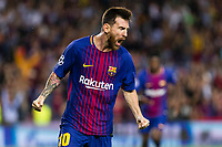 SPAIN - Sep,12th: Lionel Messi celebrates scoring the goal during the match between FC Barcelona - Juventus, for the group stage, round 1 of the Champions League, held at Camp Nou Stadium on 12th September 2017 in Barcelona<br /> Norway only
