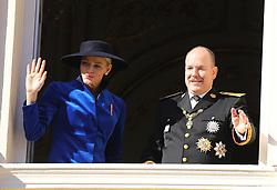Princess Charlene of Monaco and Prince Albert II of Monaco attending the Monaco National Day Celebrations in the Monaco Palace Courtyard on November 19, 2017 in Monaco, Monaco. Photo by Yuri Krakow/ABACAPRESS.COM
