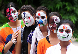 August 14, 2017 - Allahabad, Uttar Pradesh, India - Allahabad: Students make painting on their face during a protest against death of children at BRD Hospital Gorakhpur, in Allahabad on 14-08-2017. (Credit Image: © Prabhat Kumar Verma via ZUMA Wire)