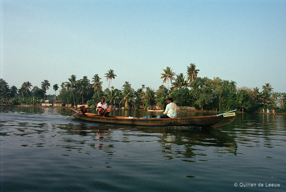 A local canoe boat in the backwaters of Alleppey, Kerala province