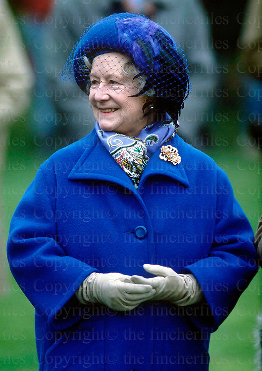 The Queen Mother seen at the Military Cup Race at Sandown,Surrey in March 1987. Photographed by Jayne Fincher