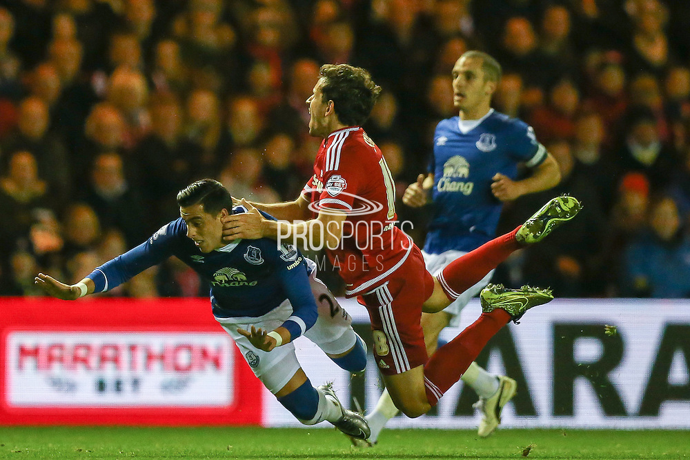 Everton defender Ramiro Funes Mori and Middlesbrough forward Christian Stuani tangle during the Capital One Cup match between Middlesbrough and Everton at the Riverside Stadium, Middlesbrough, England on 1 December 2015. Photo by Simon Davies.