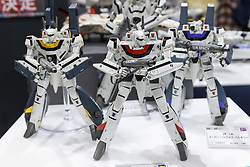 September 29, 2018 - Tokyo, Japan - Plastic models of Bandai Macross Battroid Valkyrie on display during the 58th All Japan Model and Hobby Show in Tokyo Big Sight. The annual exhibition introduces hobby goods such as plastic models, action figures, drones and airsoft guns from September 28 to 30. (Credit Image: © Rodrigo Reyes Marin/ZUMA Wire)