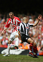 Photo: Rich Eaton.<br /> <br /> Grimsby Town v Cheltenham Town. Coca Cola League 2. Play off Final. 28/05/2006. Steven Gillespie of Cheltenham turns inside Curtis Woodhouse