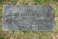 31 August 2017:   Veterans graves in Park Hill Cemetery in eastern McLean County.<br /> <br /> Louis Arthur Wood Illinois Private Ordnance Department World War I Jan 7 1888 April 25 1962
