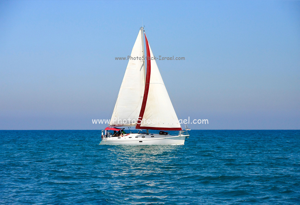 Israel, a yacht in the Mediterranean sea