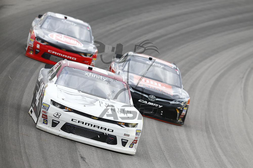 October 21, 2017 - Kansas City, Kansas, USA: Tyler Reddick (42) brings his car through the turns during the Kansas Lottery 300 at Kansas Speedway in Kansas City, Kansas.