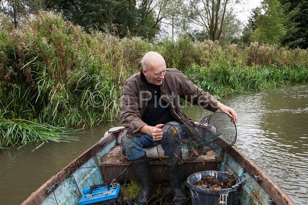 Bob Ring, 57, known as Crayfish Bob trapping American crayfish in the River Thames at Abingdon Lock, Oxfordshire.Introduced in the 1970's by the now defunct Ministry of Fisheries and Food as a cheap food source, the American Signal Crayfish has wiped out the native British Crayfish because it carries, but is immune to, Aphanomyces astaci known as the Crayfish plague. American Signal crayfish have bred in such prolific numbers they have had seriously depreciative effect on other aquatic life and damage the banks with their tunnelling.