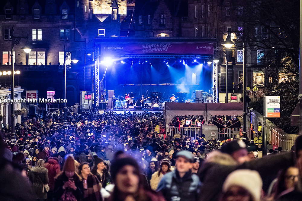 View of Waverley Stage during concert as part of Edinburgh hogmanay street party in the city on New Year's Eve. Scotland, United Kingdom.