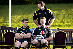 Alex Rieder, Ben Harris and Joe Launchbury of Wasps - Mandatory by-line: Robbie Stephenson/JMP - 18/11/2019 - RUGBY - Broadstreet Rugby Football Club - Coventry , Warwickshire - Wasps Squad Photo
